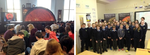 Figure 3: Sunspotter workshops in the School of Physics in Trinity College Dublin (left image). Astrophysicists Dr Pietro Zucca and Áine Flood visiting classrooms in Co. Westmeath as part of the midlands Science Festival (left image)